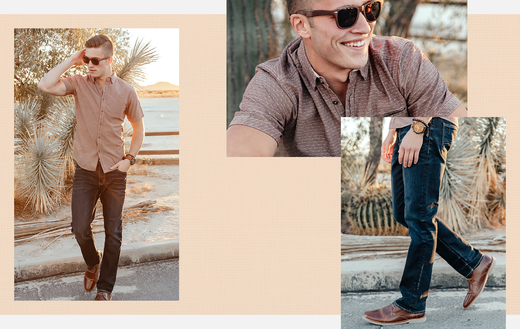 Guy wearing a brown short sleeve printed button-up shirt with dark wash denim and brown shoes
