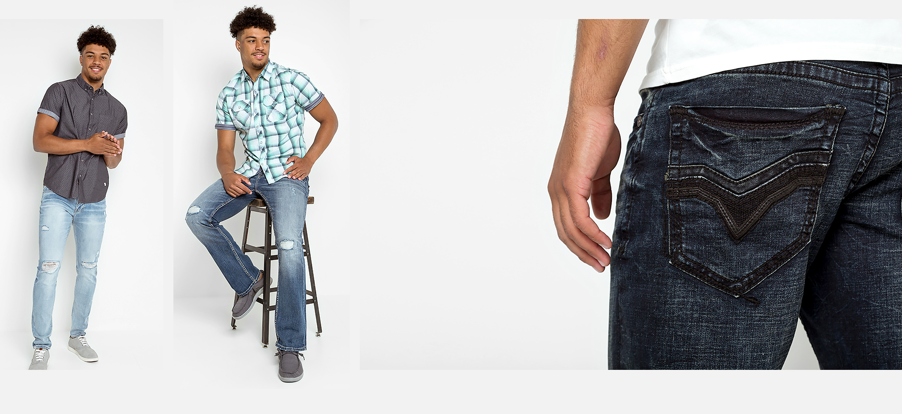 A guy wearing new styles of jeans from Buckle.