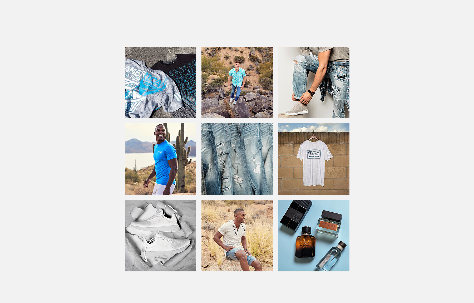 Collage of men's Buckle Instagram