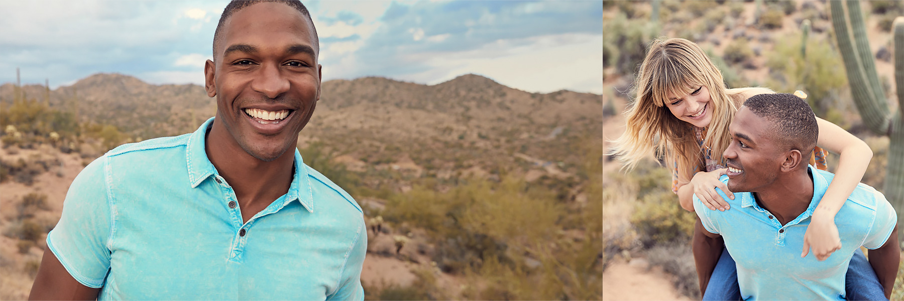 Guy wearing a turquoise polo walking in the desert