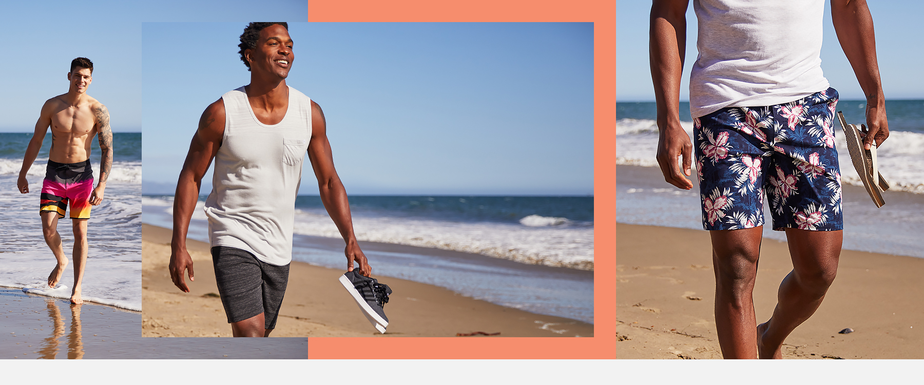 Collage of guys wearing new styles of boardshorts and shorts from Buckle.