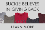 Buckle Believes in Giving Back - Learn More Menu Mini Banner