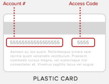 For plastic cards, the account number and access code are on the back. Account number is on the left, access code is on the right.