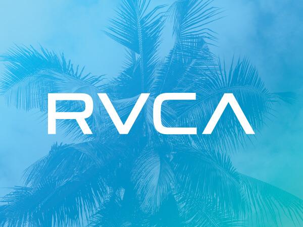 RVCA logo on bright blue decorative background.