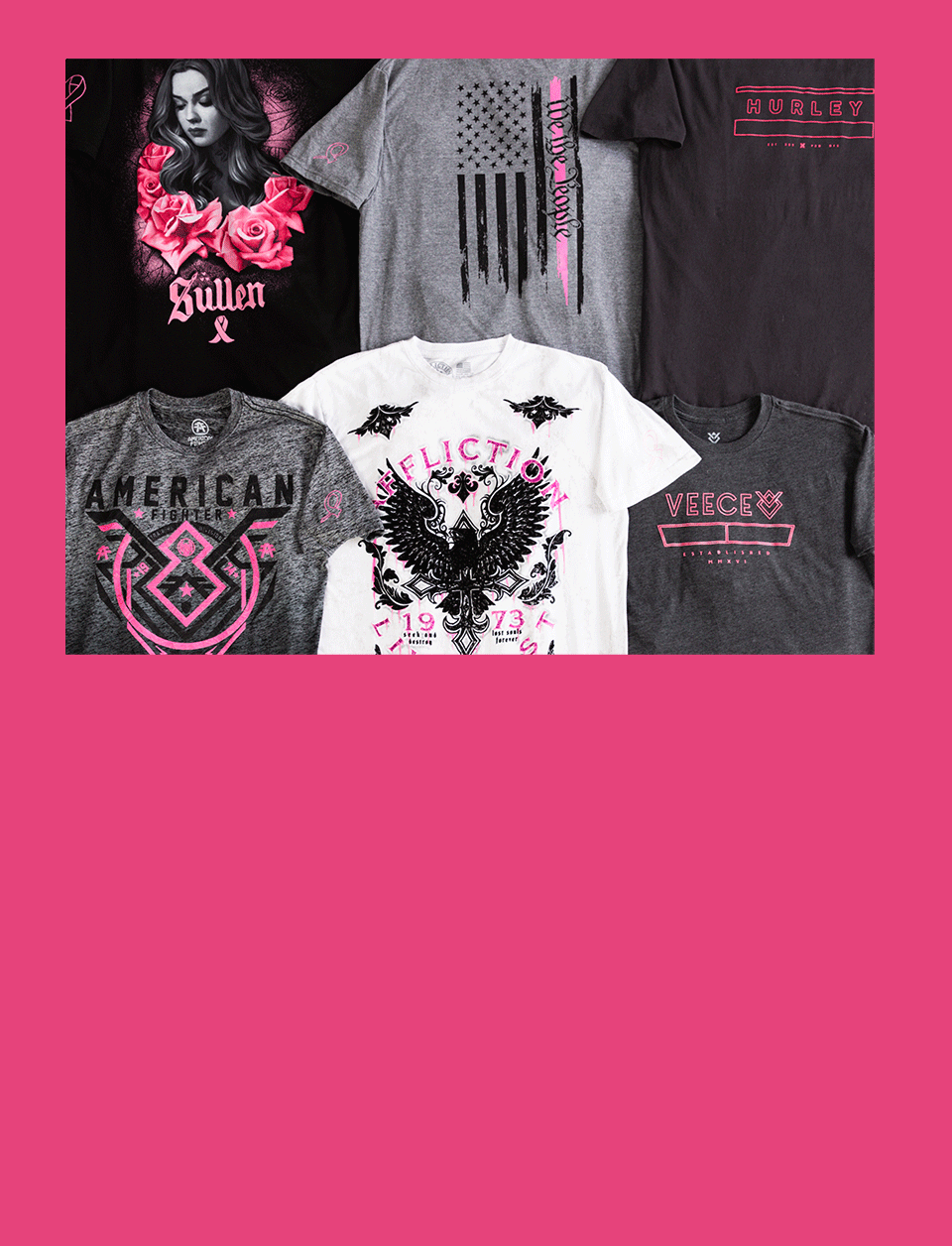 A collection of Breast Cancer Society T-Shirts