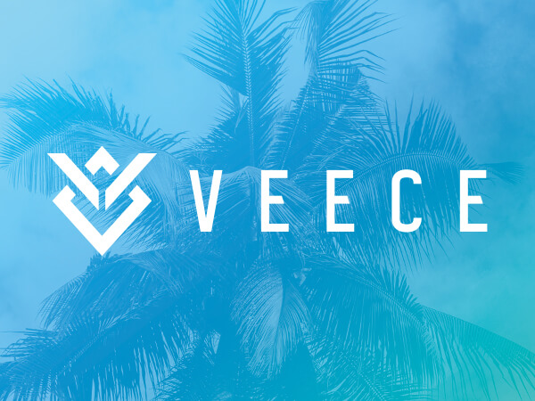 Veece logo on bright blue decorative background.