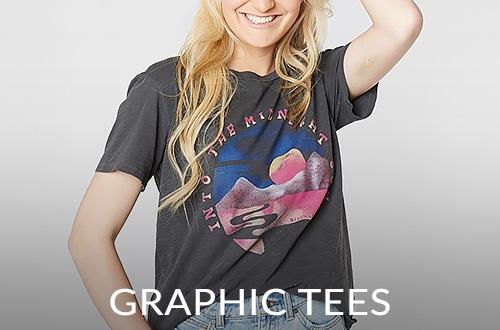 Girl wearing a grey graphic short sleeve t-shirt