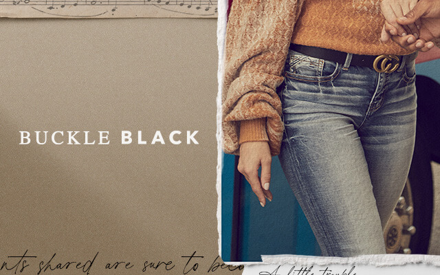A gal wearing a pair of Buckle Black dark wash denim. Another gal wearing a pair of Buckle Black medium wash jeans.