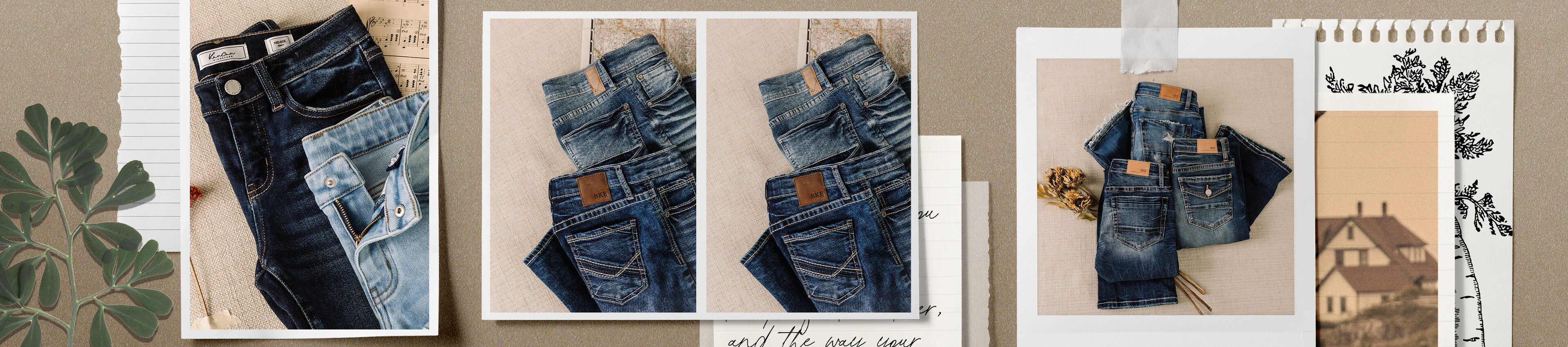 A pair of dark washed denim and a pair of light washed denim laying on the floor.