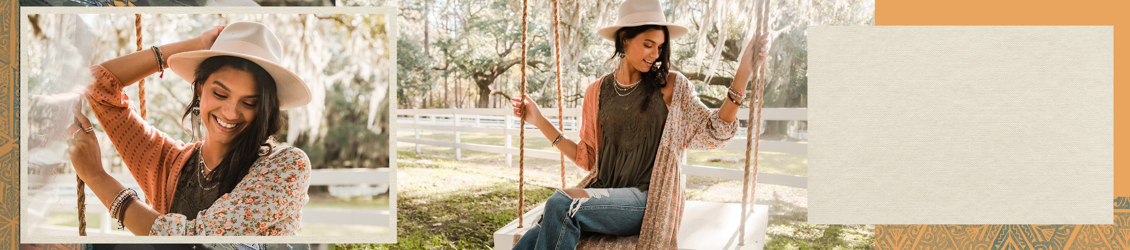 Gal wearing a green Gimmicks tank with a striped and floral Gimmick kimono over it with a pair a medium wash distressed denim