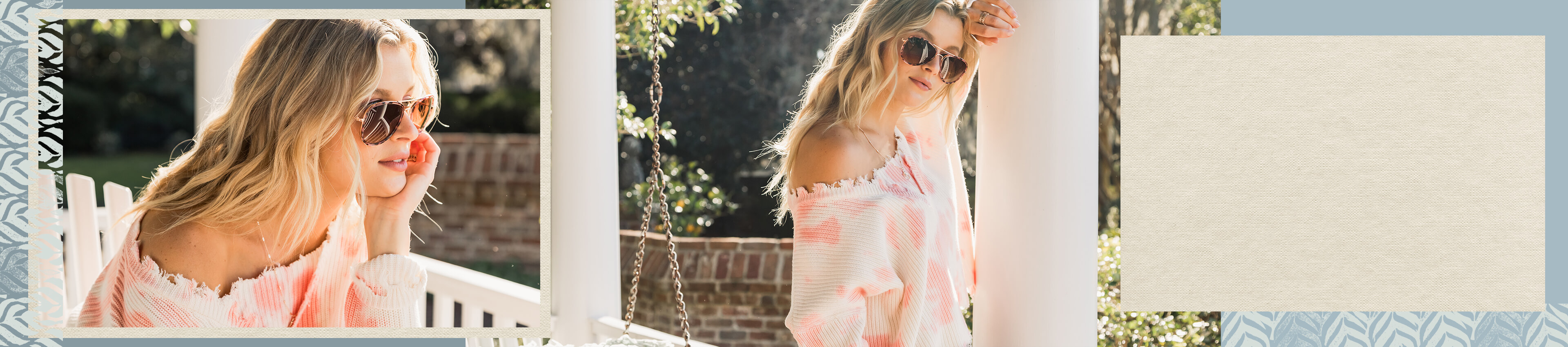 Gal wearing a pink and white tie dye off the shoulder Willow and Root top