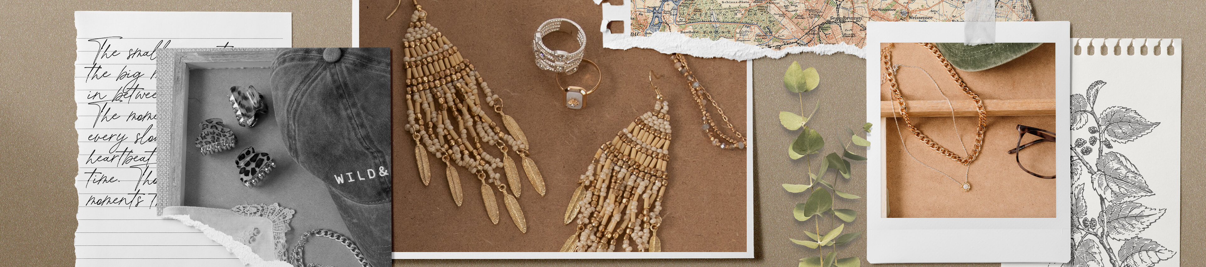 Three hair clips, a baseball hat, a pair of gold beaded earrings, a gold and silver ring, and gold chain necklace and a silver pendant necklace.