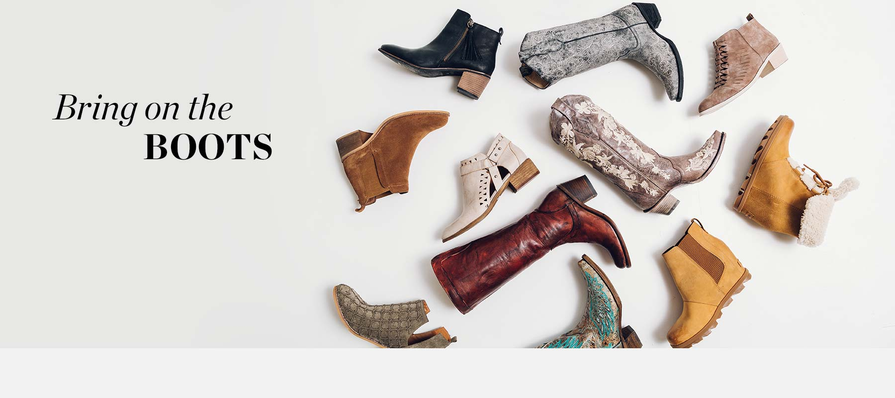 Bring on the Boots - A variety of women's boots scattered on the floor