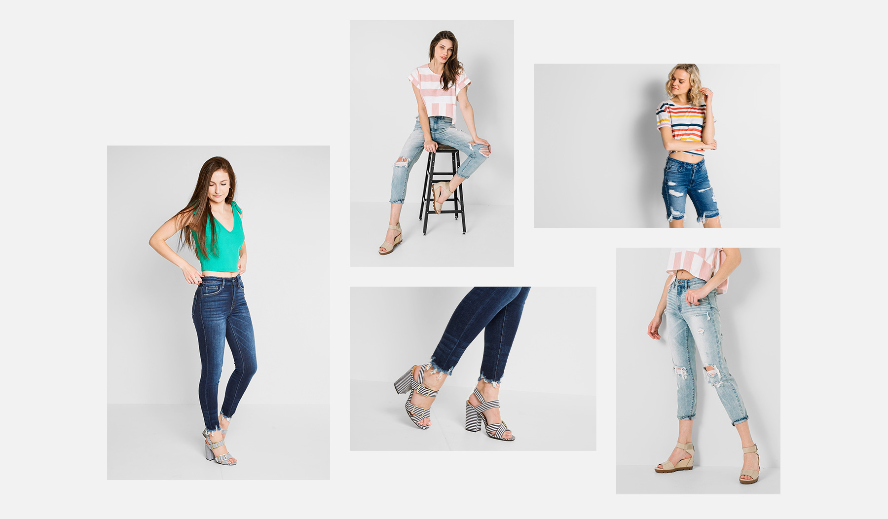 A collage of women's wearing different styles of denim
