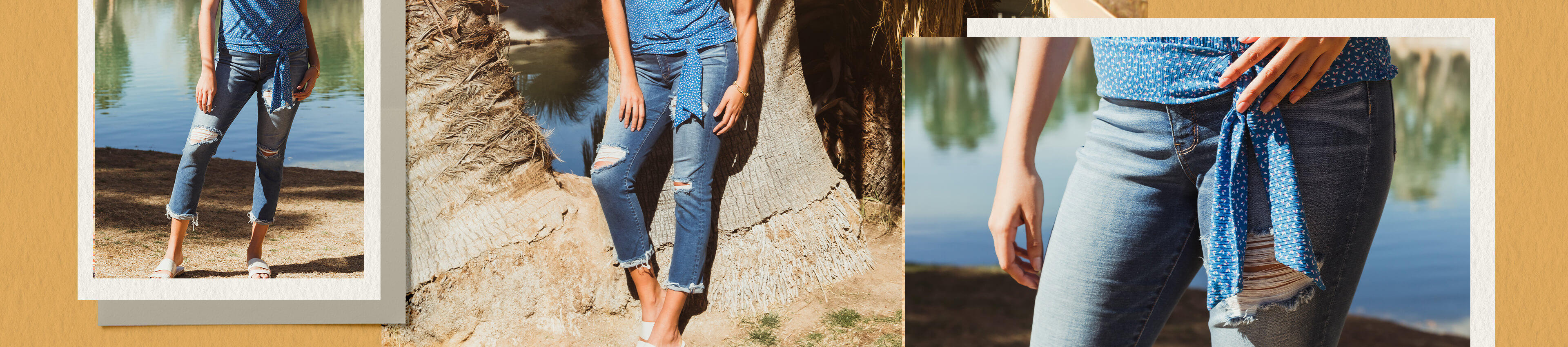 A gal wearing a pair of medium washed destructed denim