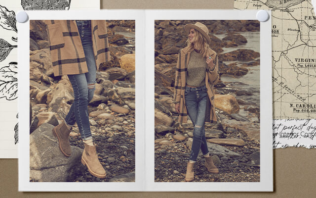 A gal wearing a brown sweater with a pair of dark destressed denim with light brown boots.