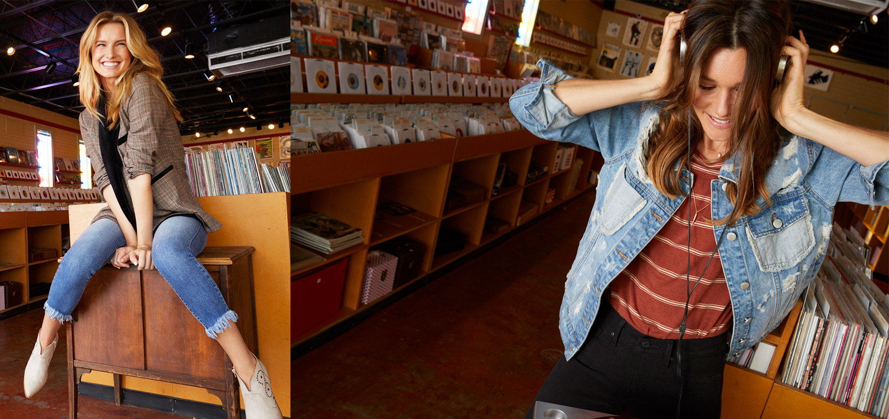 Smiling girl dancing with headphones on in record store, wearing destructed denim jacket and striped RVCA tee from Buckle.
