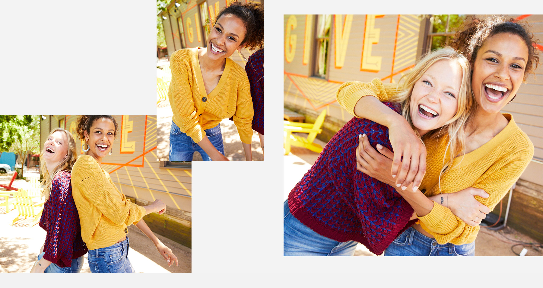 Girl wearing a yellow cardigan with medium wash denim and a girl wearing a purple short sleeve sweater with medium wash denim