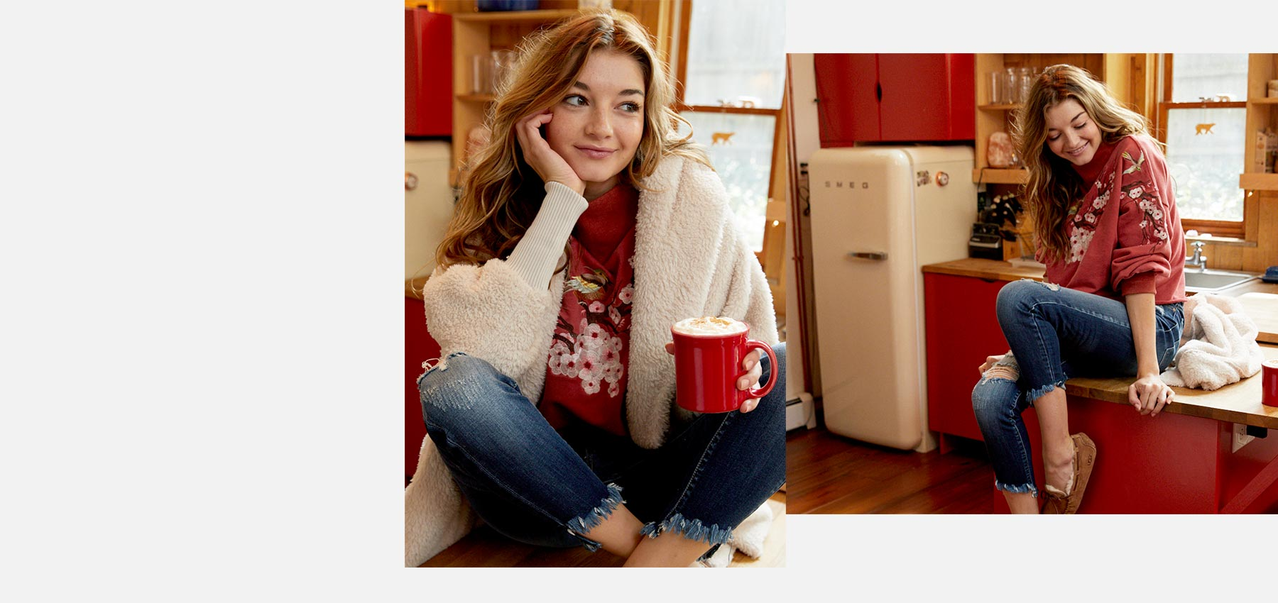 Girl drinking hot chocolate in the kitchen, while wearing cozy new arrivals from Buckle.